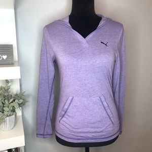 PUMA Purple Hooded Pullover With Front Pockets